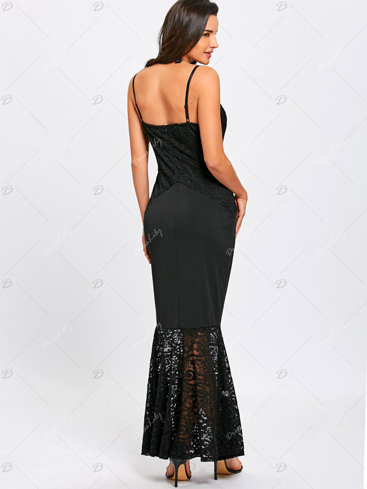 Lace Insert Spaghetti Strap Mermaid Dress - BLACK S