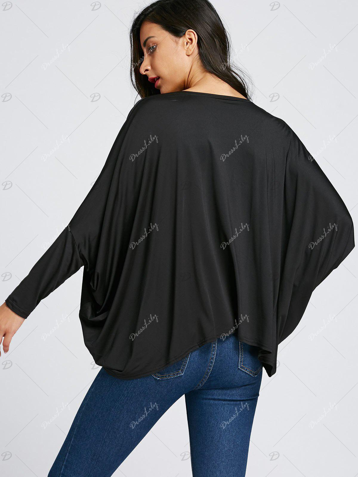 Twist Front Batwing Sleeve Midriff-baring Blouse - BLACK S