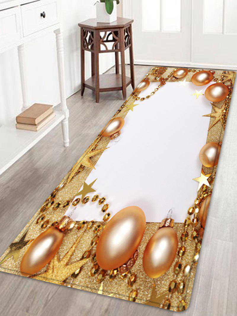 Christmas Balls Chain Pattern Indoor Outdoor Area Rug - GOLDEN W24 INCH * L71 INCH