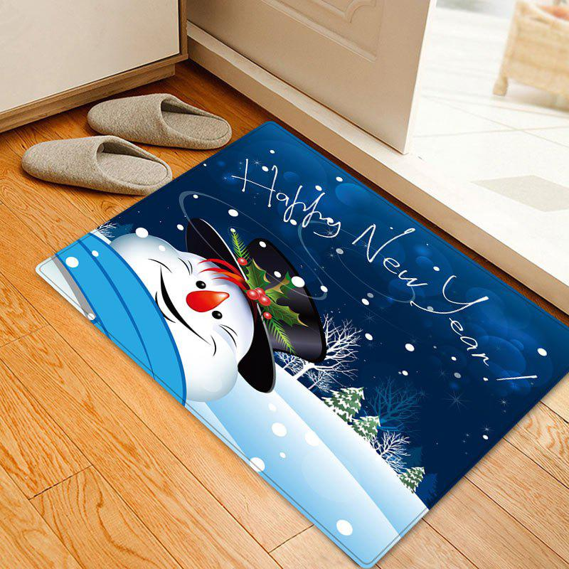 Happy New Year Snowman Pattern Indoor Outdoor Area Rug - BLUE W16 INCH * L24 INCH