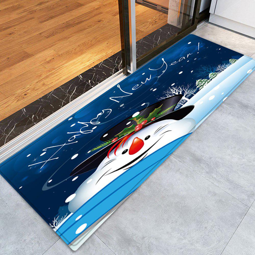 Happy New Year Snowman Pattern Indoor Outdoor Area Rug - BLUE W24 INCH * L71 INCH