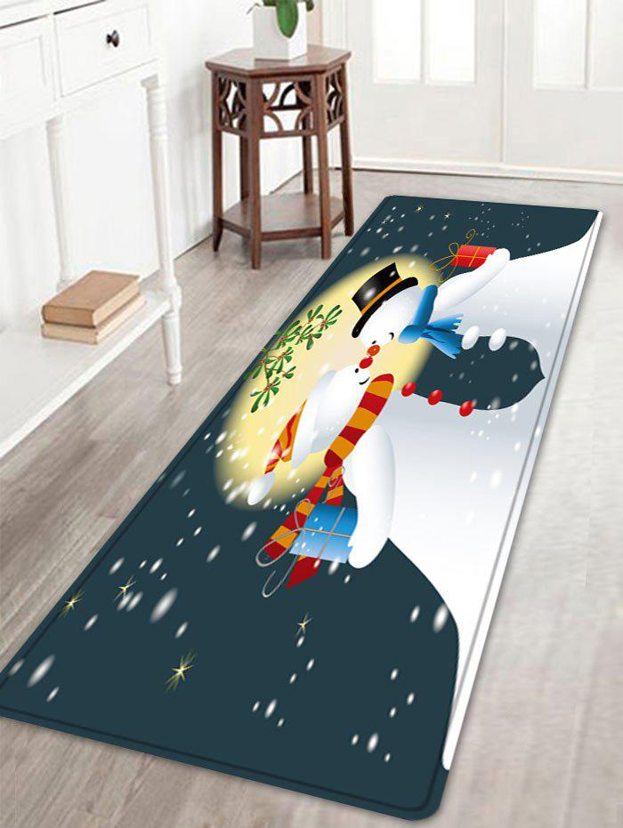 Christmas Moon Snowmen Couple Pattern Indoor Outdoor Area Rug - COLORMIX W16 INCH * L47 INCH