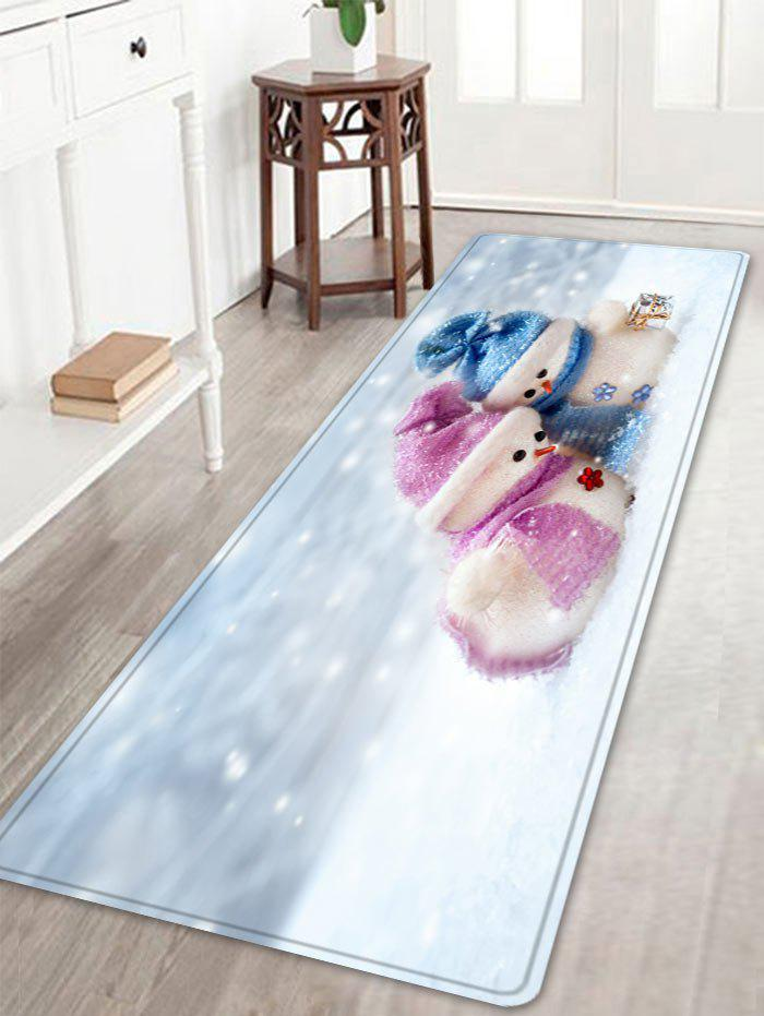 Christmas Snowman Lover Pattern Indoor Outdoor Area Rug - WHITE W16 INCH * L47 INCH