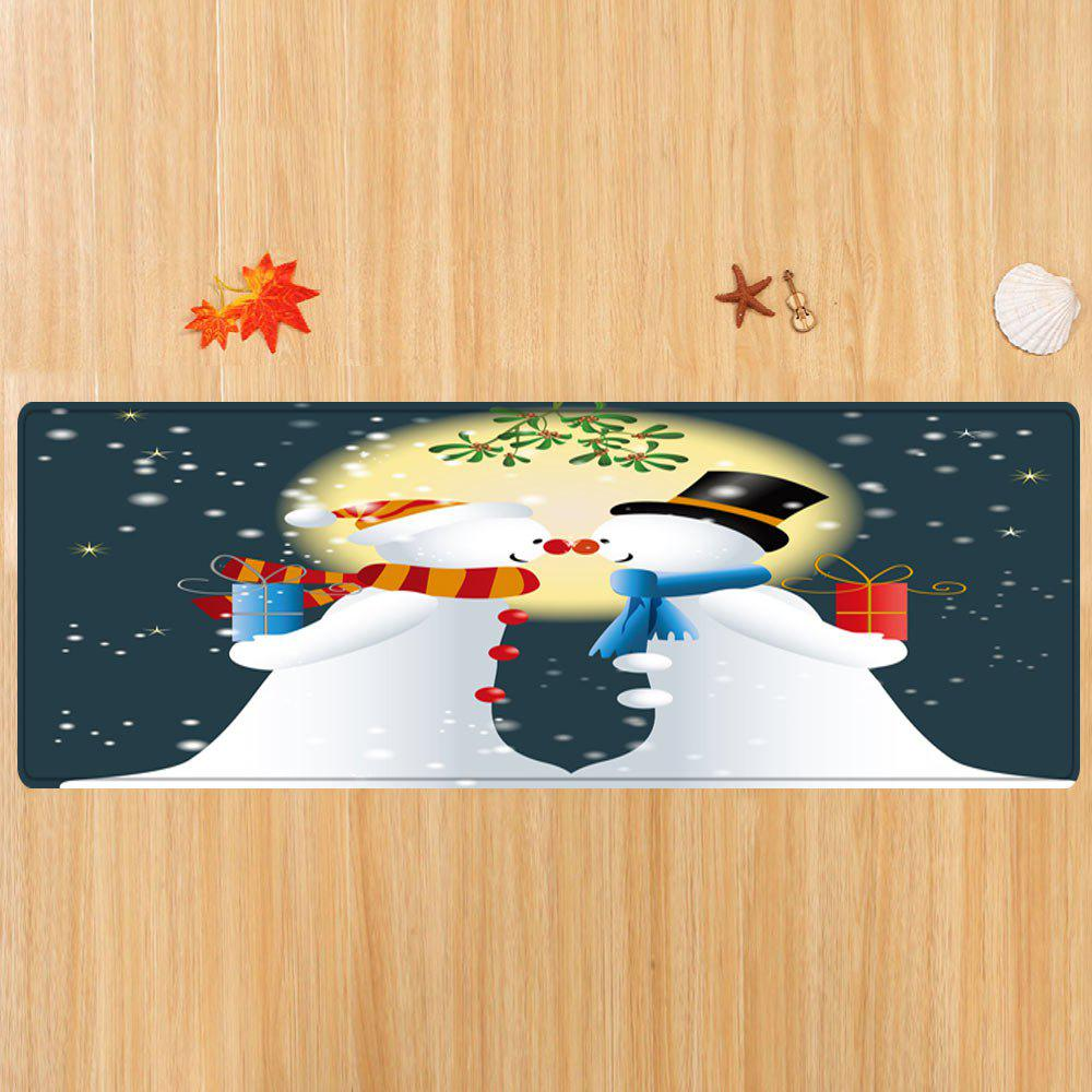 Christmas Moon Snowmen Couple Pattern Indoor Outdoor Area Rug - COLORMIX W24 INCH * L71 INCH