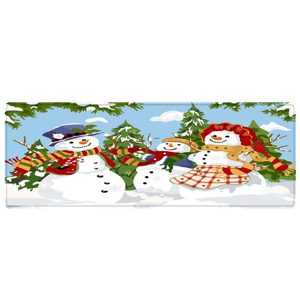 Christmas Snowmen Family Trees Pattern Indoor Outdoor Area Rug - COLORMIX W16 INCH * L47 INCH