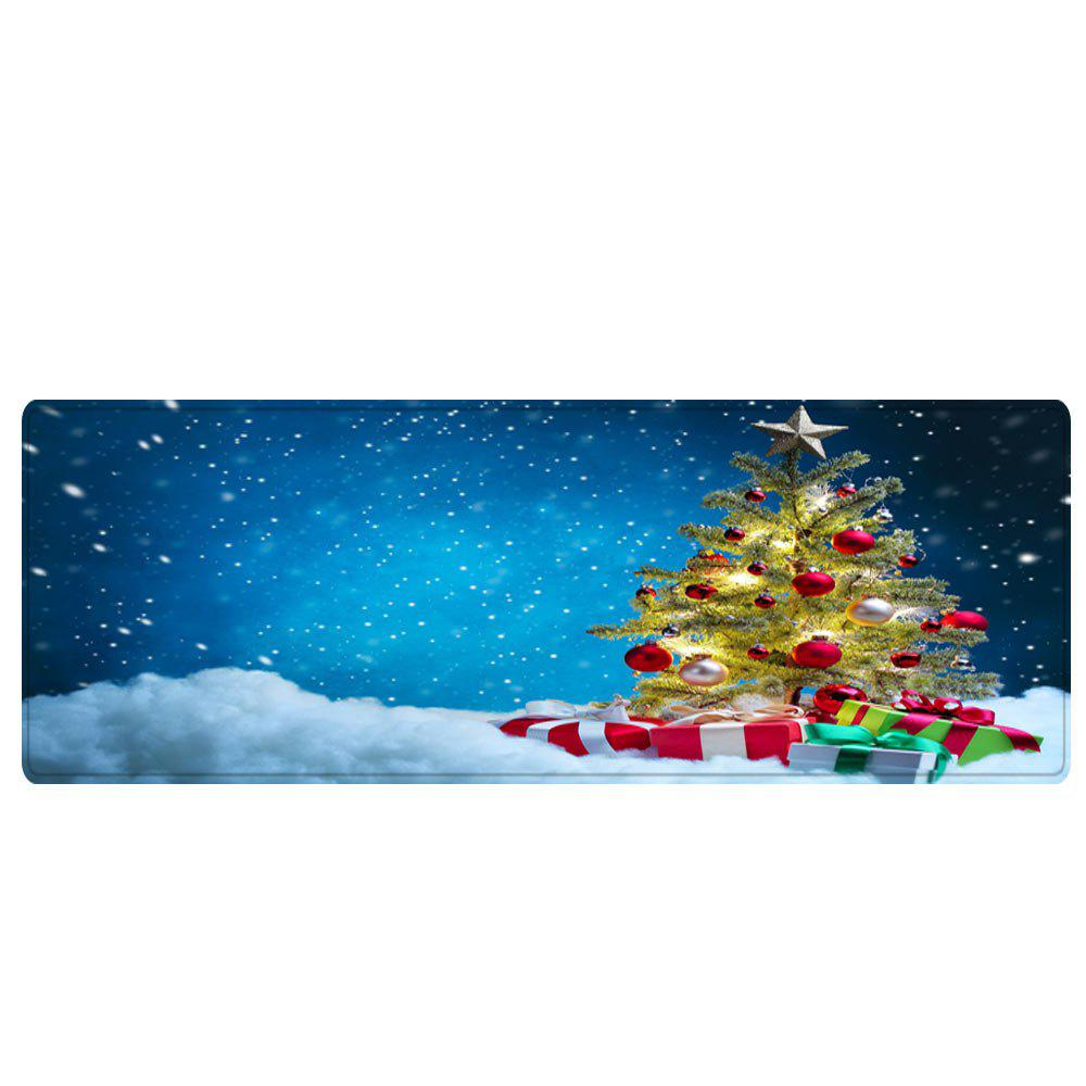 Christmas Tree Presents Pattern Indoor Outdoor Area Rug - BLUE W24 INCH * L71 INCH