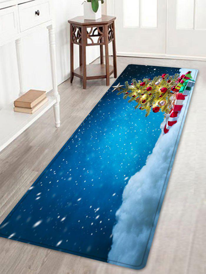 Christmas Tree Presents Pattern Indoor Outdoor Area Rug - BLUE W16 INCH * L47 INCH