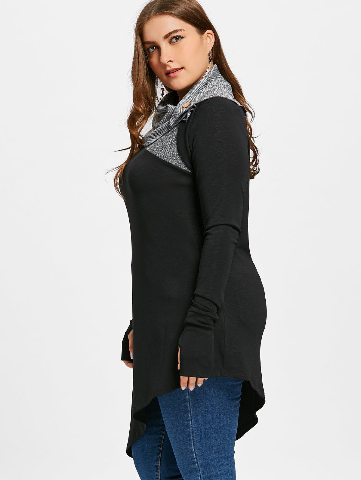 Plus Size Thumb Hole Asymmetric Tunic Top - BLACK 2XL