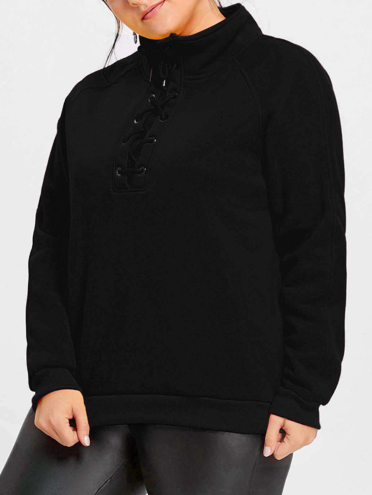 High Neck Plus Size Fleece Lined Lace Up Sweatshirt - BLACK XL