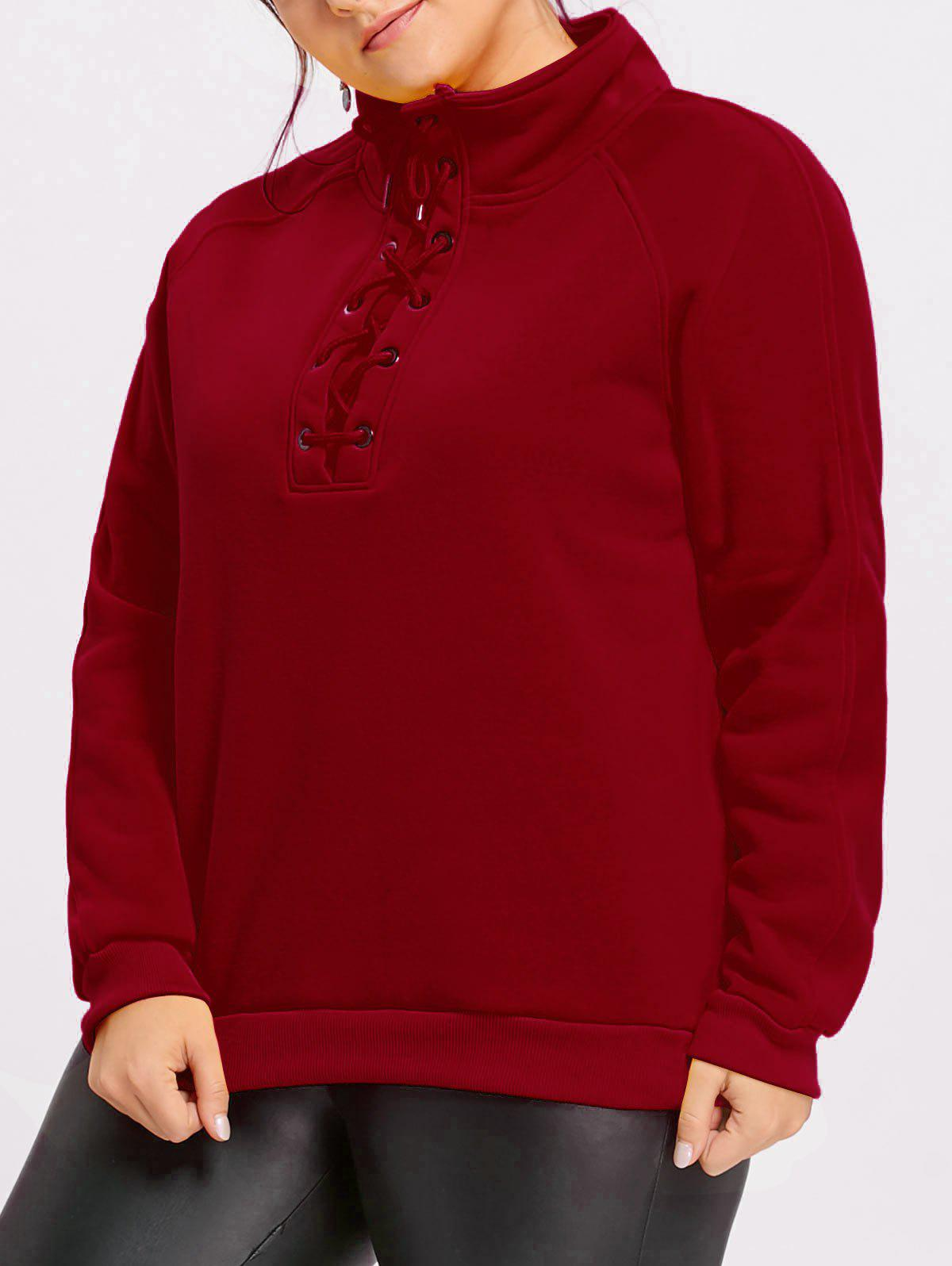 High Neck Plus Size Fleece Lined Lace Up Sweatshirt - DEEP RED XL