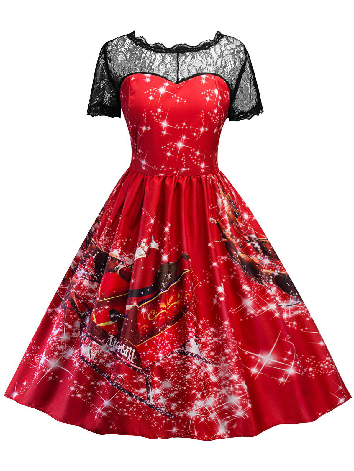 Vintage Printed Lace Insert Christmas Pin Up Dress - RED M