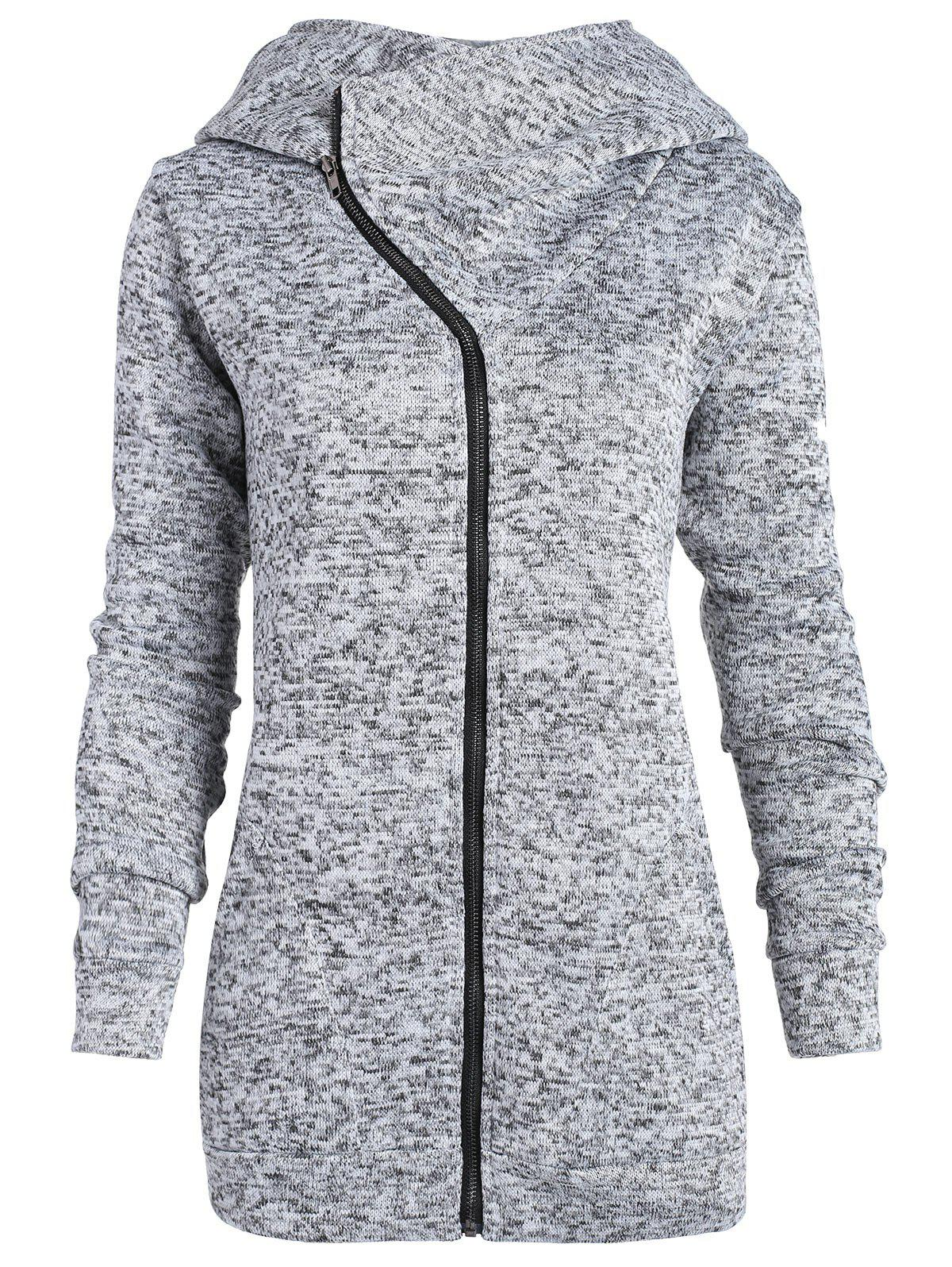 Plus Size Zip Up Hoodie - HEATHER GRAY 2XL
