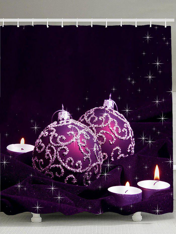 цены Christmas Balls and Candles Pattern Waterproof Shower Curtain