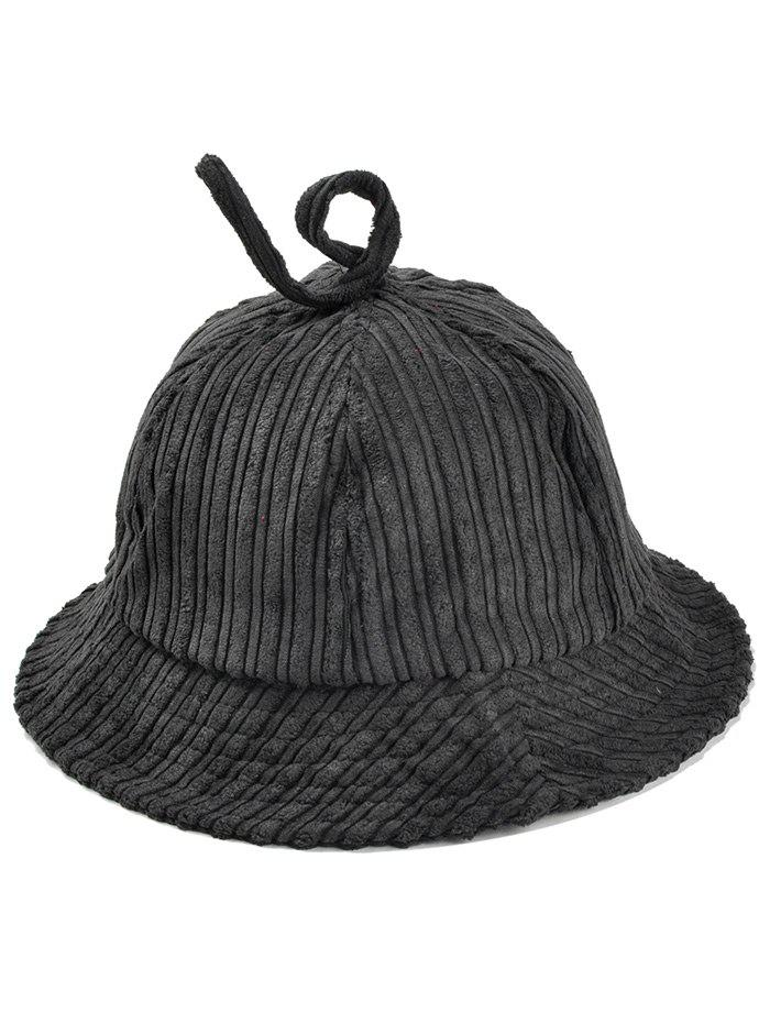 Outdoor Striped Pattern Decoarted Corduroy Bucket Hat - BLACK