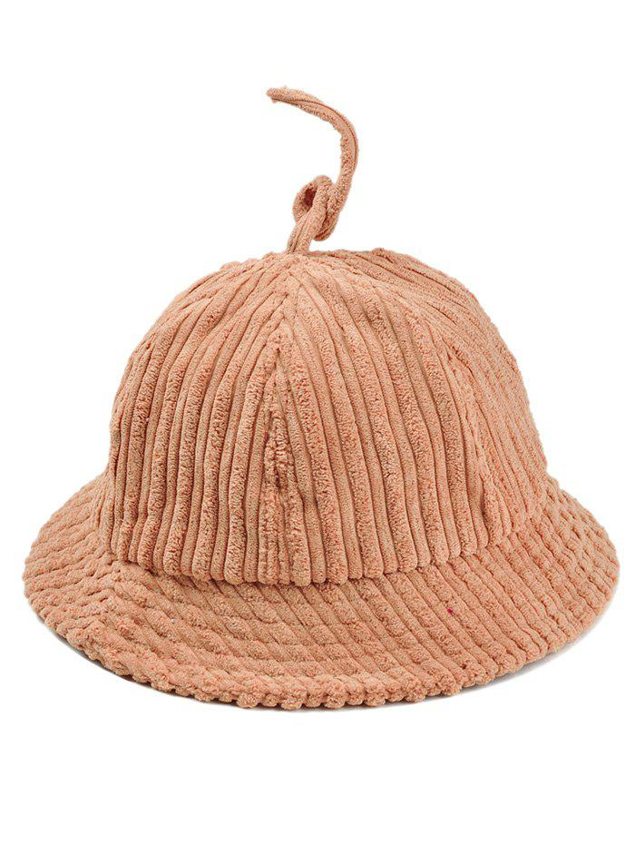 Outdoor Striped Pattern Decoarted Corduroy Bucket Hat - KHAKI