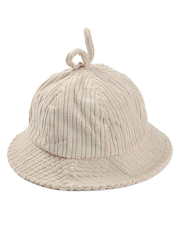 Outdoor Striped Pattern Decoarted Corduroy Bucket Hat - BEIGE