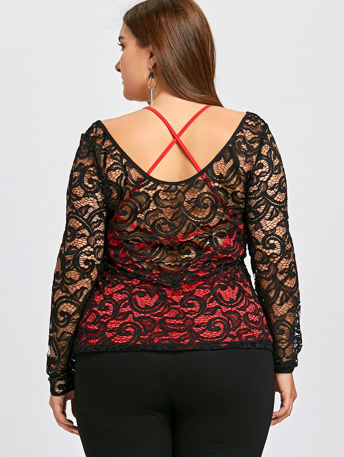 Plus Size Lace Blouse with Criss Cross Tank Top - BLACK 4XL