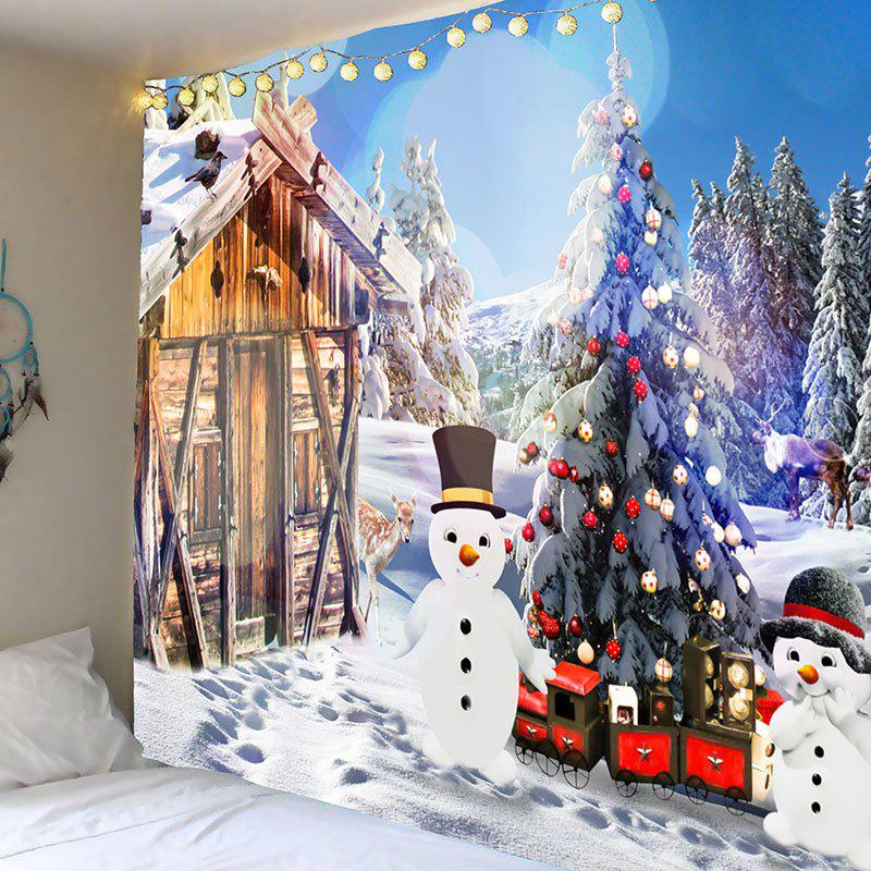Christmas Snow House and Snowman Pattern Wall Art Tapestry