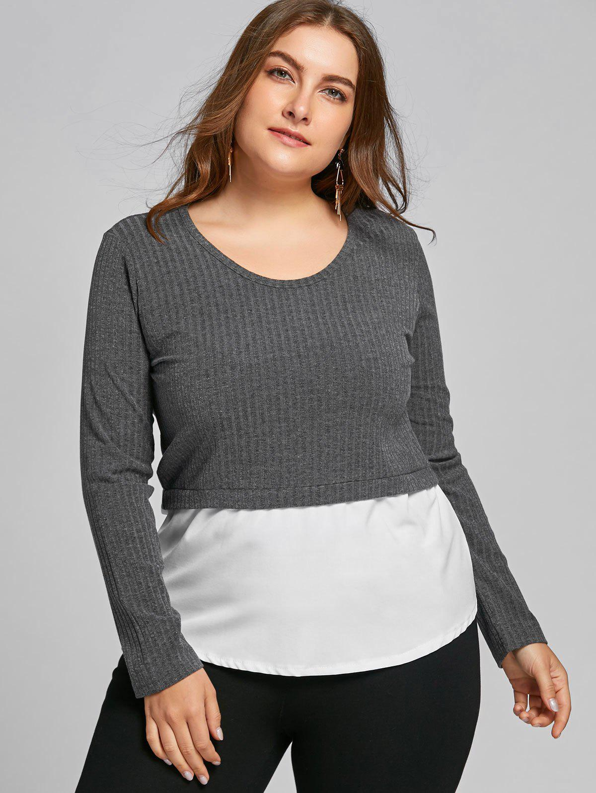 High Low Two Tone Plus Size Blouse - GRAY 4XL