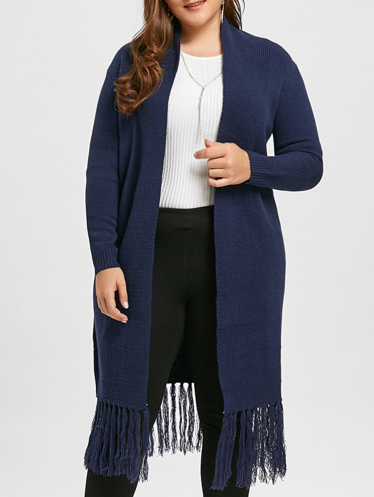 Plus Size Tassel Long Shawl Collar Cardigan - PURPLISH BLUE ONE SIZE