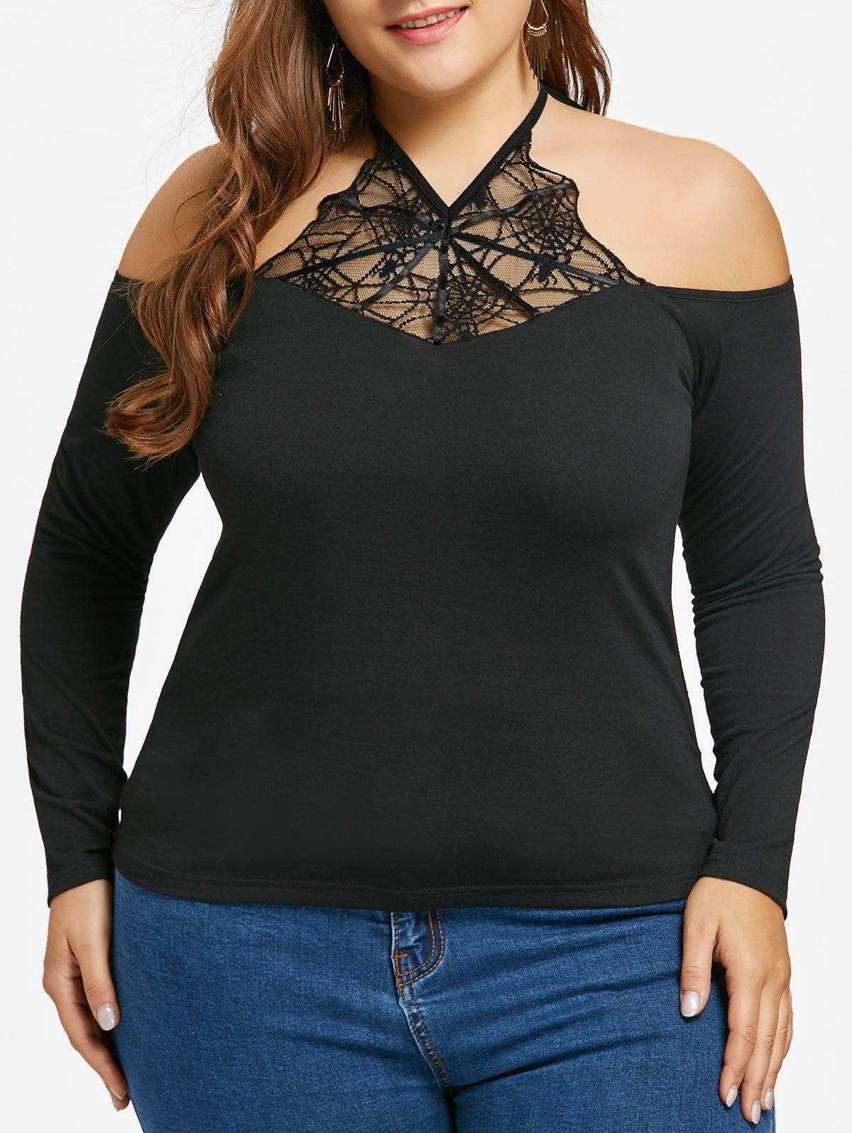 Plus Size Halter Spider Net Lace Panel Top - BLACK 4XL
