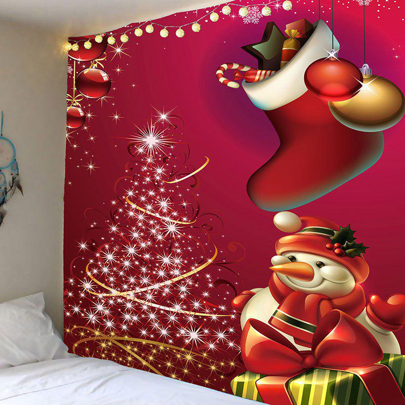 Christmas Snowman and Tree Printed Wall Art Tapestry