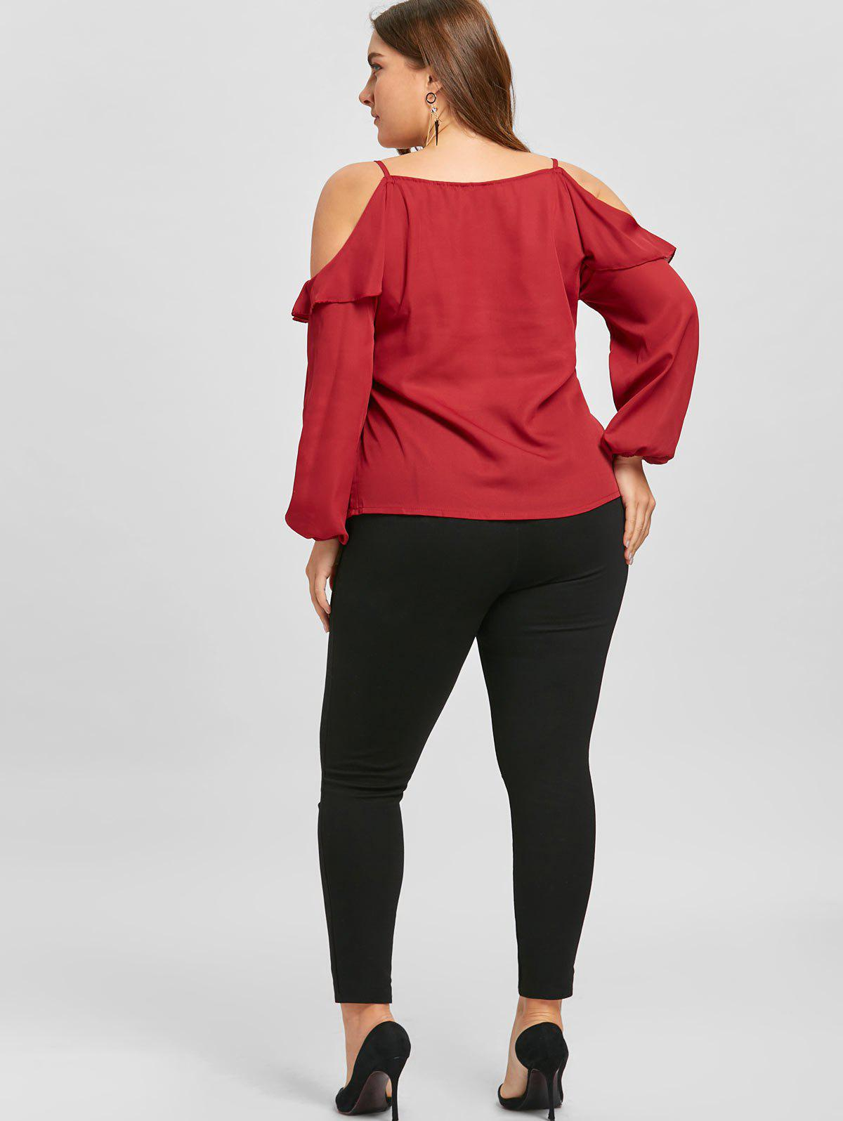 Plus Size Ruffled Long Sleeve Chiffon Cold Shoulder Top - RED 3XL