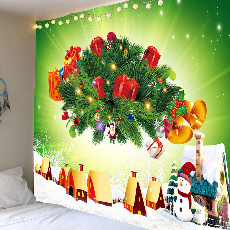 Christmas Presents Printed Wall Tapestry christmas town snow moon wall tapestry