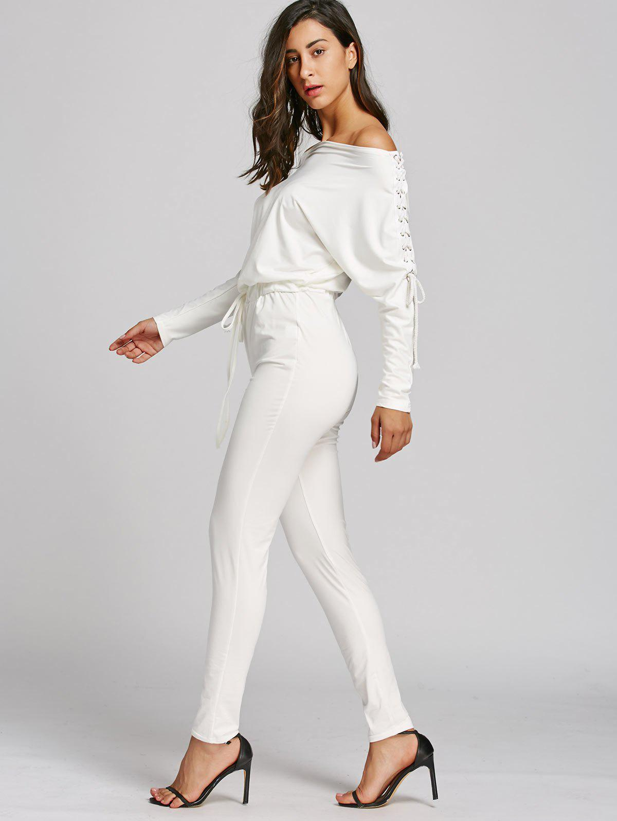 Off The Shoulder Lace-Up taille haute Jumpsuit - Blanc S