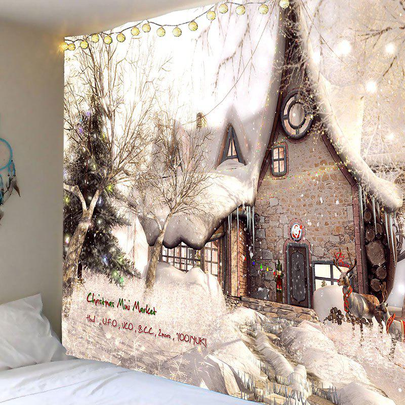 Christmas White Snow House Pattern Wall Tapestry