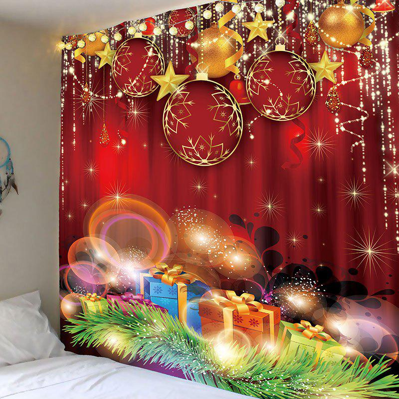 Christmas Red Balls and Gifts Printed Wall Hanging Tapestry - RED W91 INCH * L71 INCH
