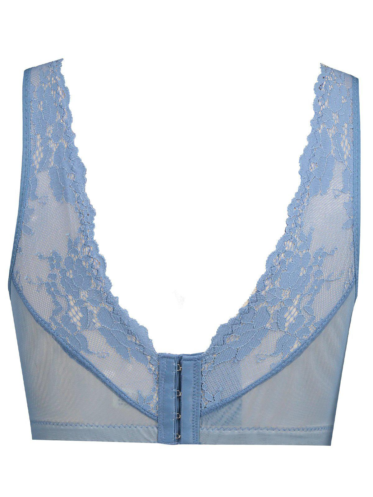 Push Up Lace Plunge Neck Bra - BLUE 80B