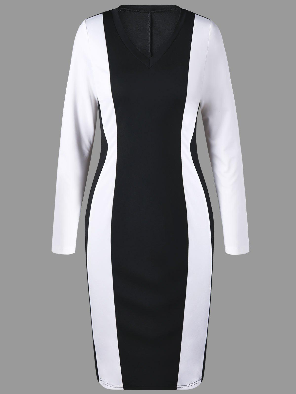 Two Tone V Neck Sheath Dress - WHITE/BLACK M