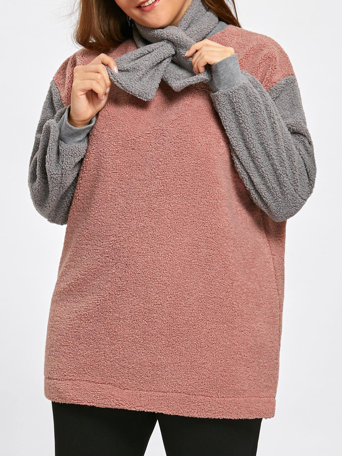 Plus Size Fleece Color Block Sweatshirt with Scarf - LIGHT APRICOT PINK ONE SIZE