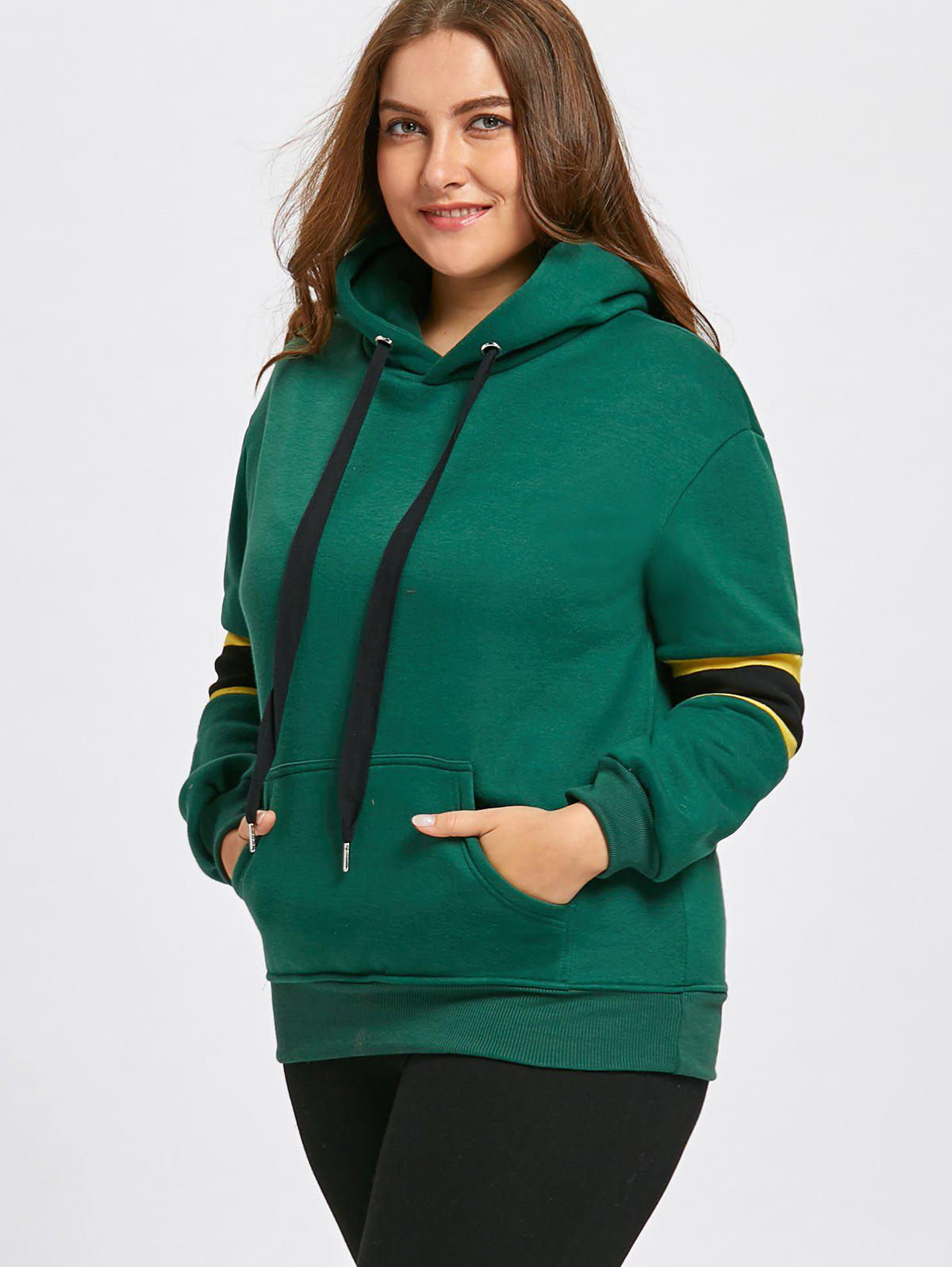 Plus Size Stripe Panel  Fleece Lined Pocket Hoodie - GREEN 5XL