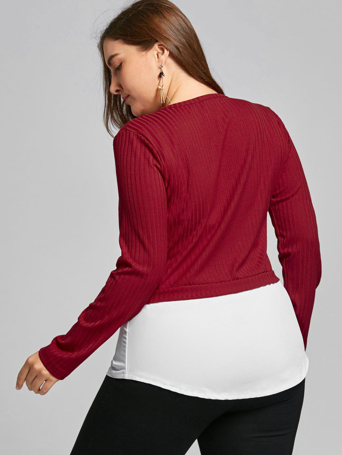 High Low Two Tone Plus Size Blouse - WINE RED 6XL