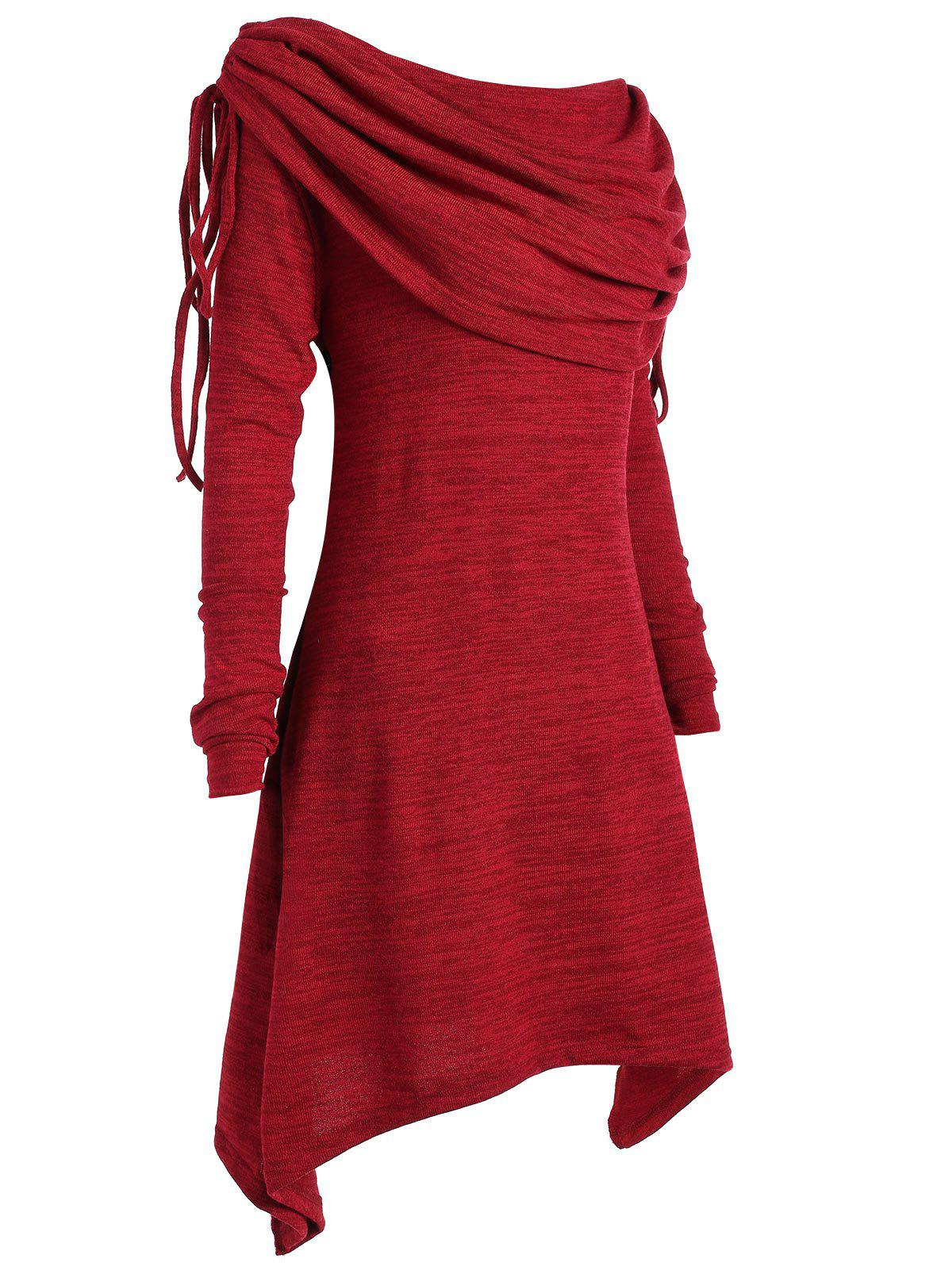 Plus Size Ruched Long Foldover Collar Top - WINE RED 4XL