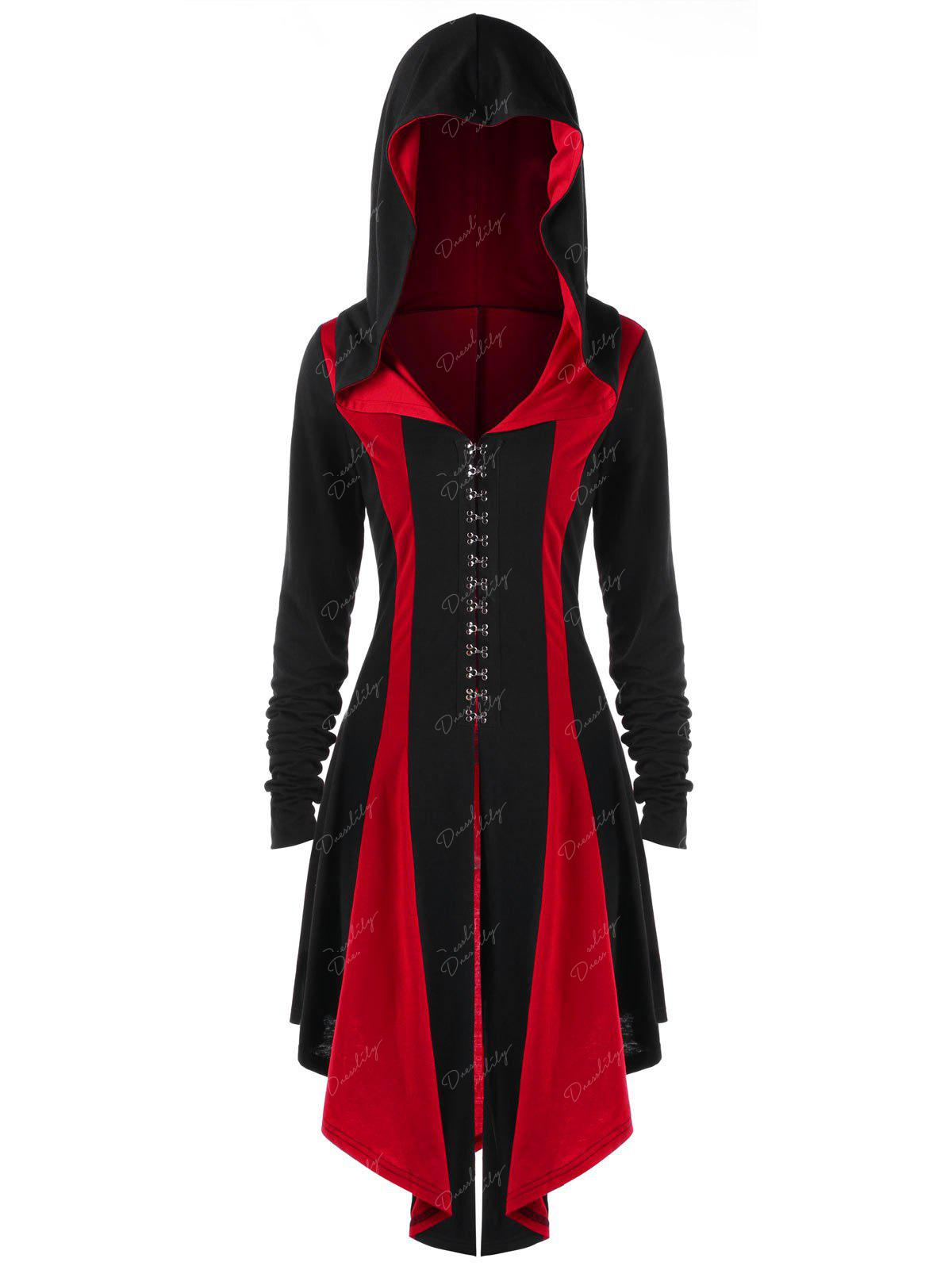 Hooded Lace Up Hook Button Coat - RED/BLACK 2XL
