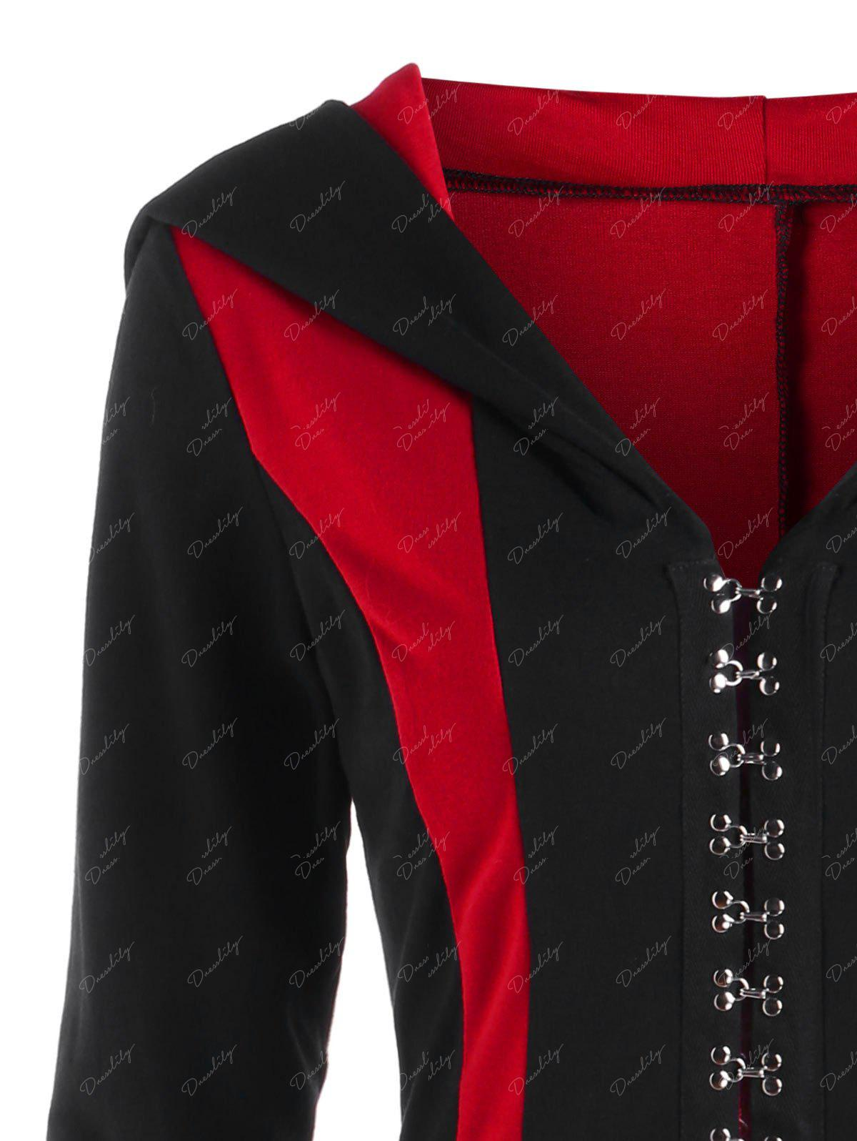 Hooded Lace Up Hook Button Coat - RED/BLACK M