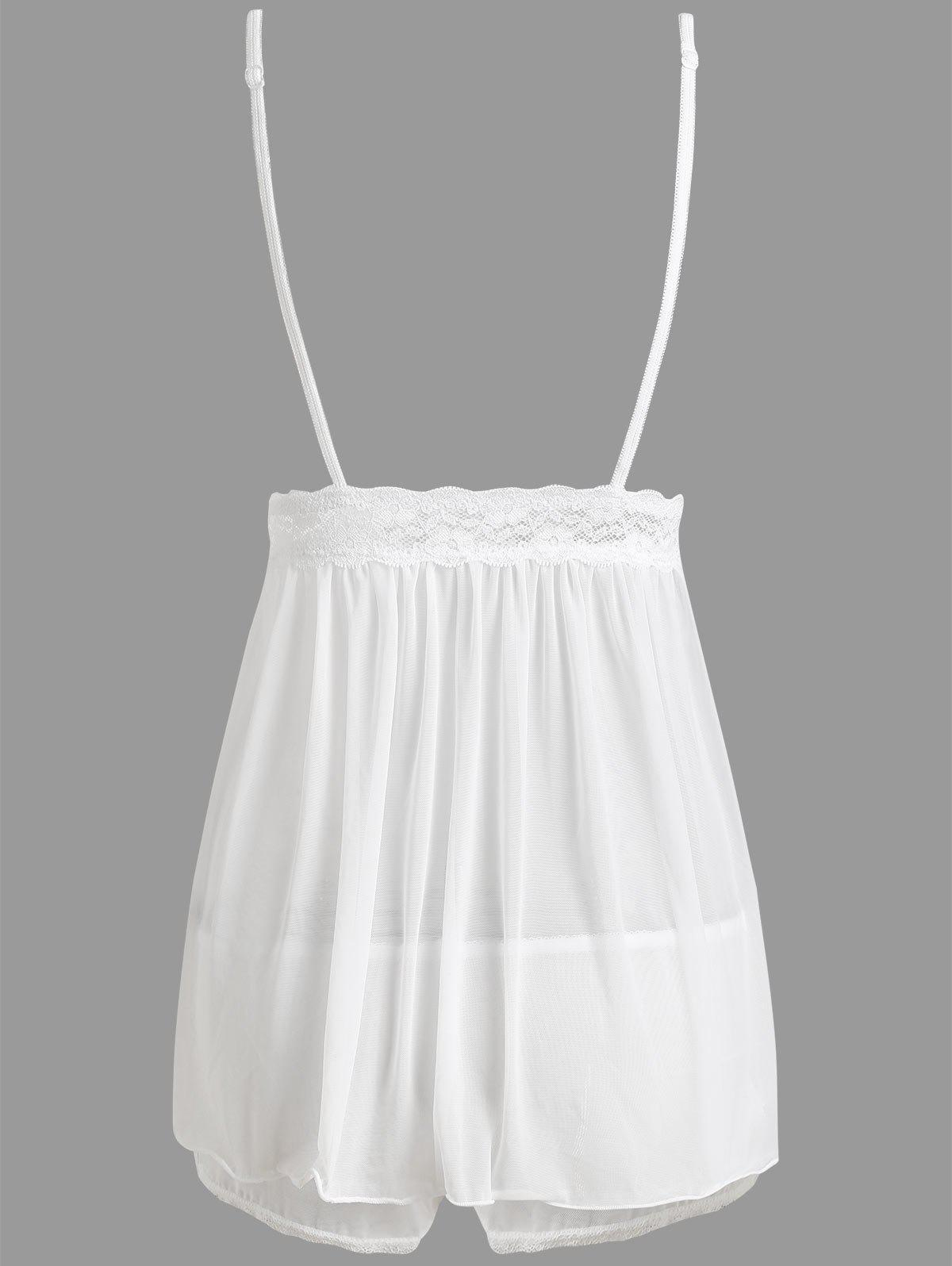 Sheer Mesh Slip Babydoll with Lace - WHITE M