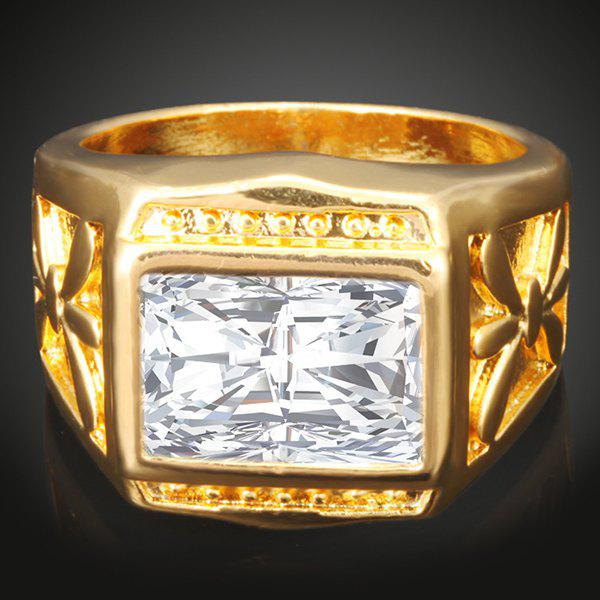Faux Gem Geometric Finger Ring - GOLDEN 10