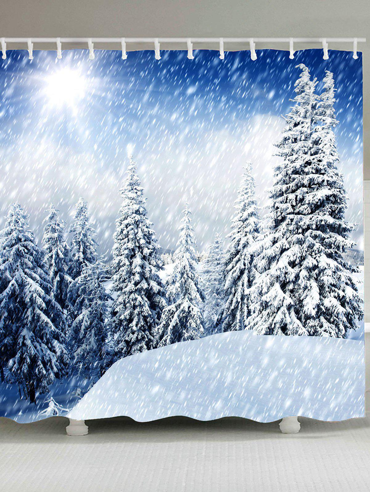 Forest Snowscape Patterned Shower Curtain forest snowscape patterned shower curtain