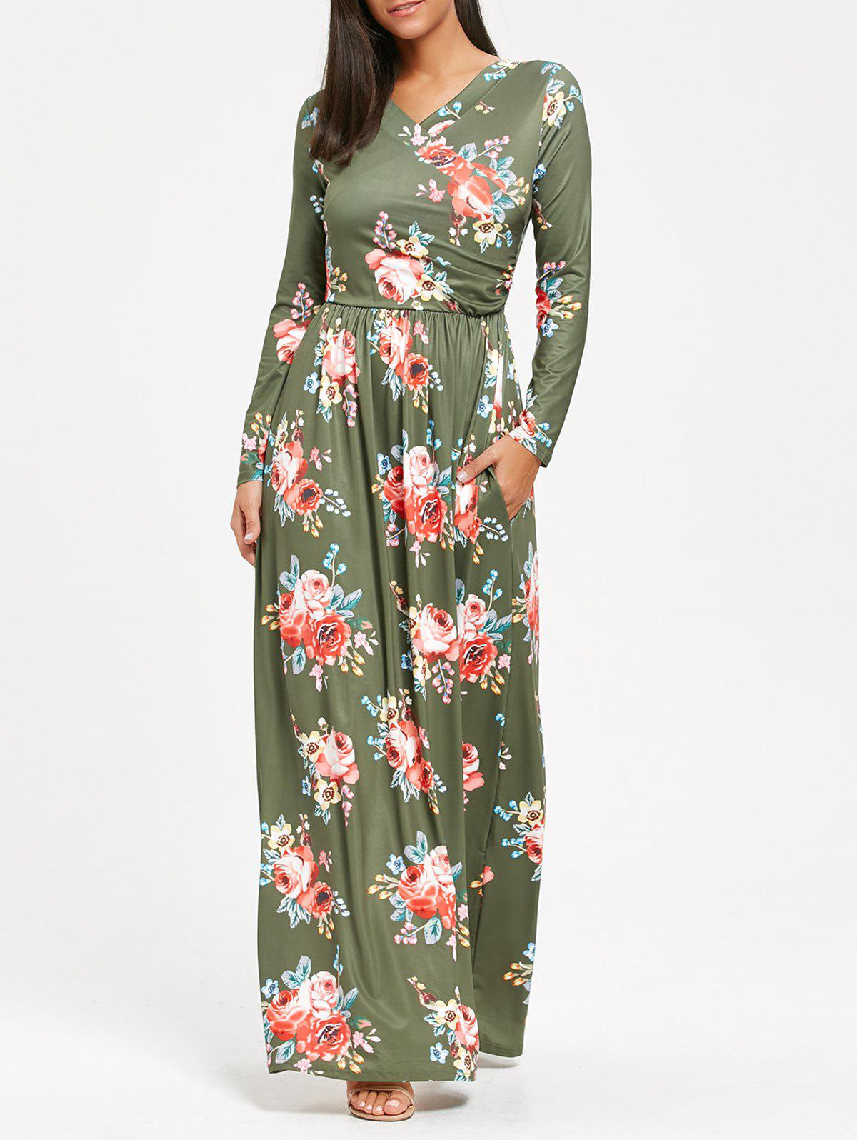 High Waist Floral Printed Long Sleeve Maxi Dress - PEA GREEN L