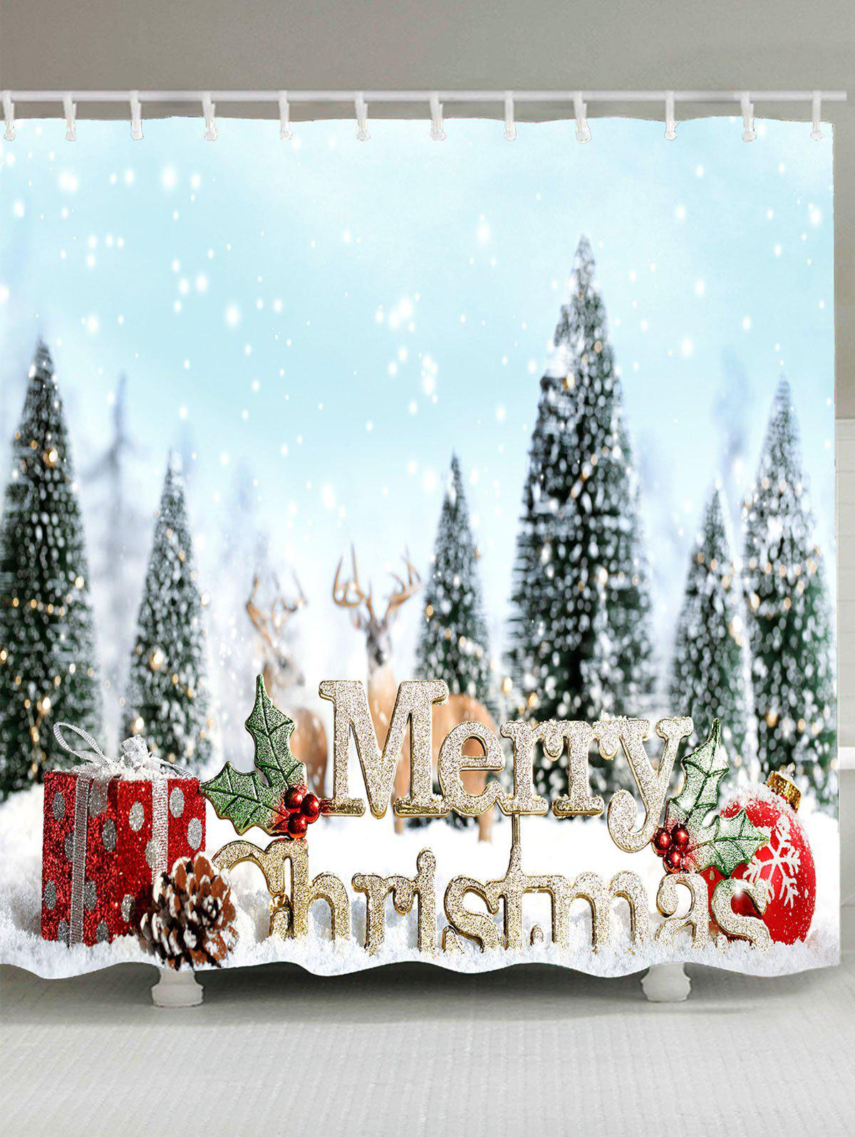 Snowy Christmas Trees Balls Gifts Printed Shower Curtain - CLOUDY W71 INCH * L79 INCH