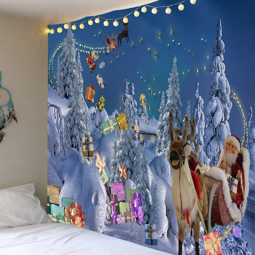 Wall Decor Sending Gifts Santa Claus Patterned Tapestry
