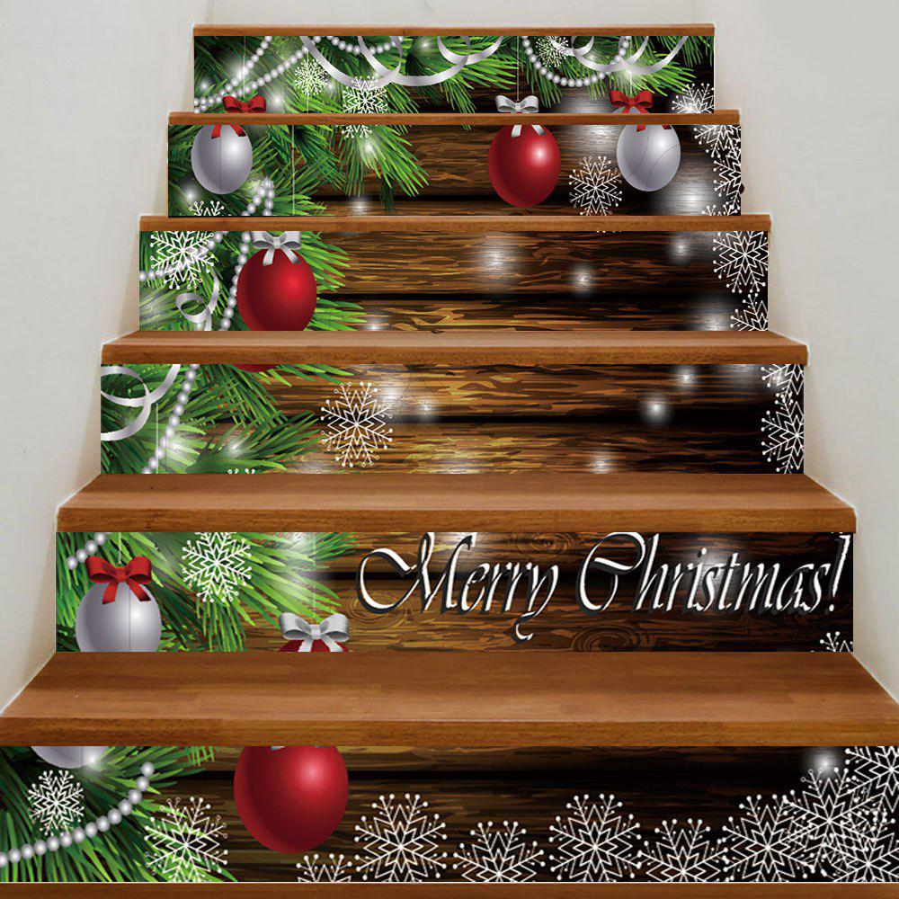 Christmas Baubles Pine Tree Pattern Stair Stickers - COLORMIX 100*18CM*6PCS
