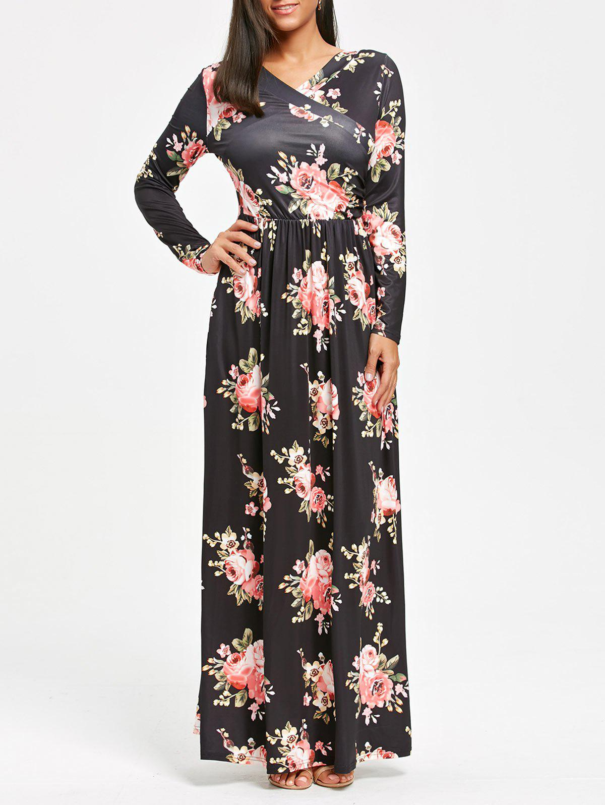 High Waist Floral Printed Long Sleeve Maxi Dress long sleeve high waist printed dress