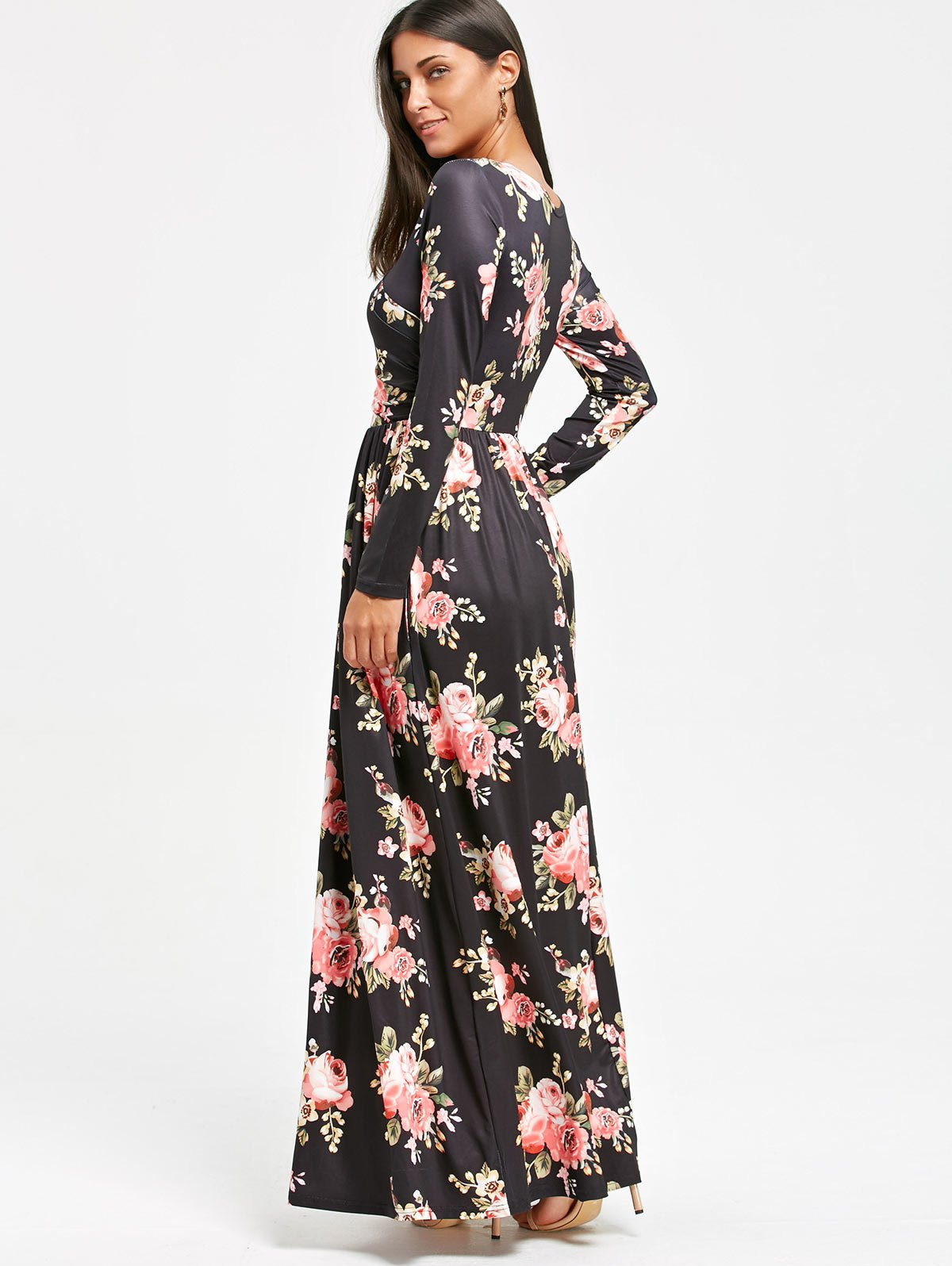 High Waist Floral Printed Long Sleeve Maxi Dress - BLACK S
