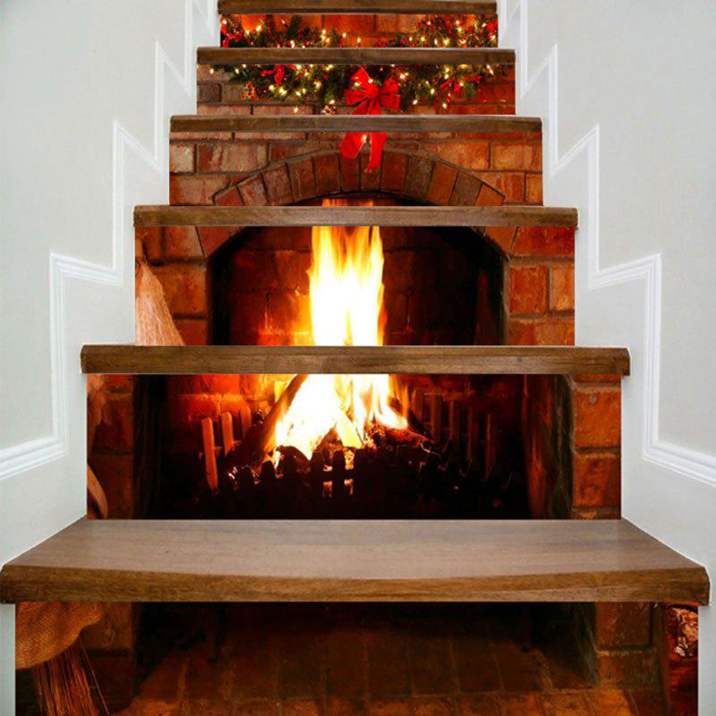 Christmas Fireplace Print Home Decor DIY Stair Stickers letter print christmas elements home decor stair stickers