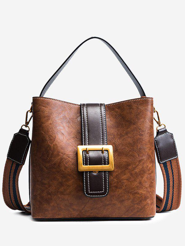 Faux Leather Buckle Strap Stitching Handbag - BROWN